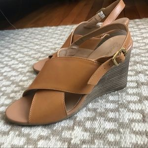 Seychelles leather crossover sling back wedges